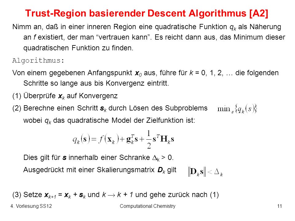 Trust-Region basierender Descent Algorithmus [A2]